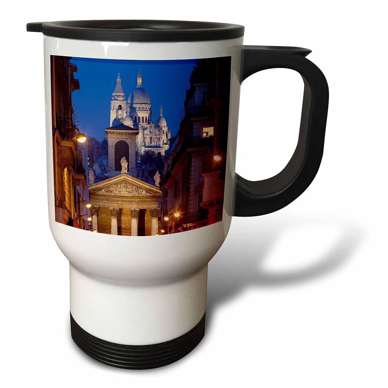14 oz 3dpink tm_187296_1 Notre Dame De Lorette and Basilique Du Sacre Coeur, Paris, France Travel Mug, 14 oz, White