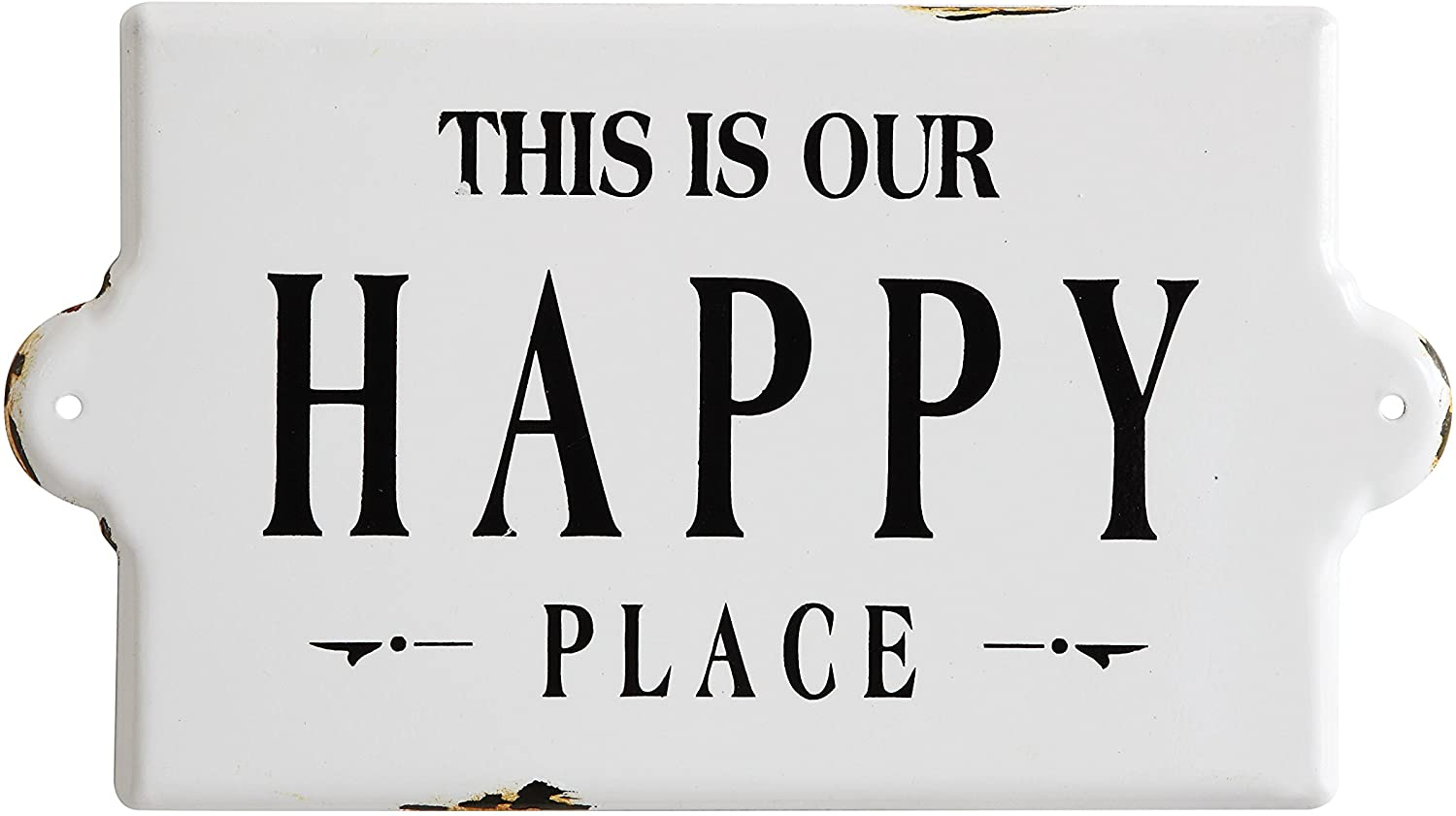 "Creative Co-Op ""This is Our Happy Place"" Metal Wall Plaque"