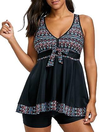 8888e5a3291 ShiFan Femme Maillot De Bain Push Up Rembourré Amincissant Bikini Style Robe  Tankini Grande Taille Beachwear