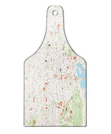 Amazon.com: Ambesonne Map Cutting Board, Map of Barcelona ...