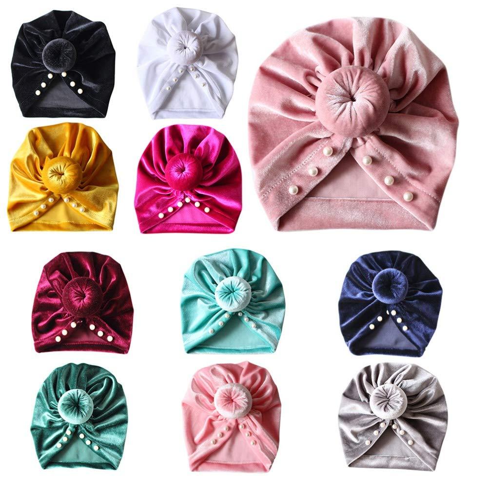 Miyanuby Turban B/éb/é Fille 6 Mois - 4 Ans B/éb/é Fille Chapeau de Noeud avec des Perles D/écor/ées Coton Bonnet Ajustable Respirant Indien Casquette pour Enfants Petits Filles Gar/çons
