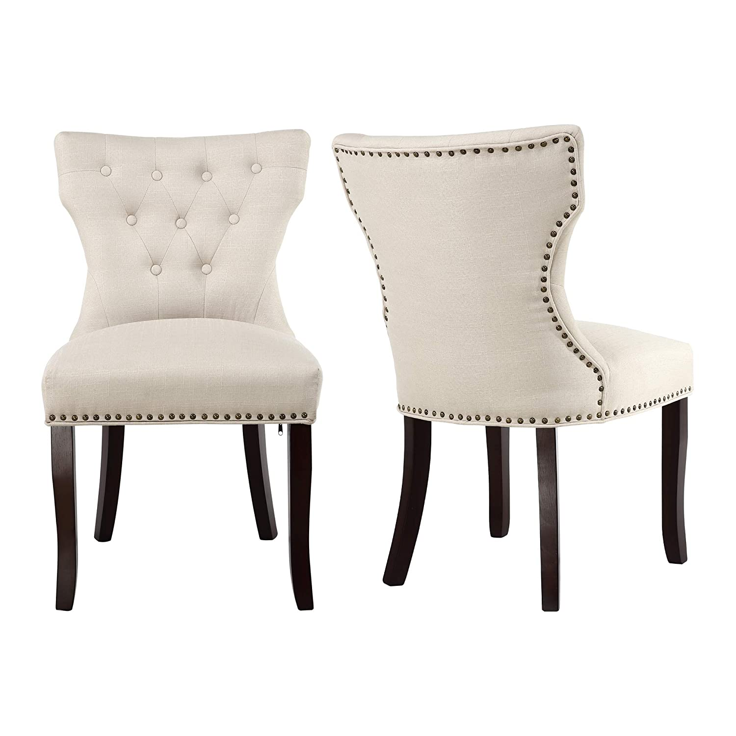 LSSBOUGHT Set of 2 Fabric Dining Chairs Leisure Padded Chairs with Brown Solid Wooden Legs,Nailed Trim,Beige