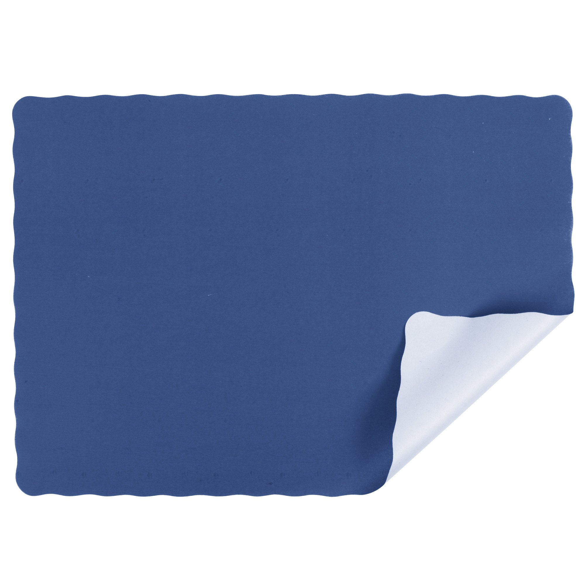 Navy Blue Colored Paper Placemat with Scalloped Edge - 1000/Case Size: 10'' x 14''
