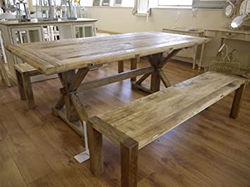 Large Elm Dining Kitchen Table 67quot Two Benches
