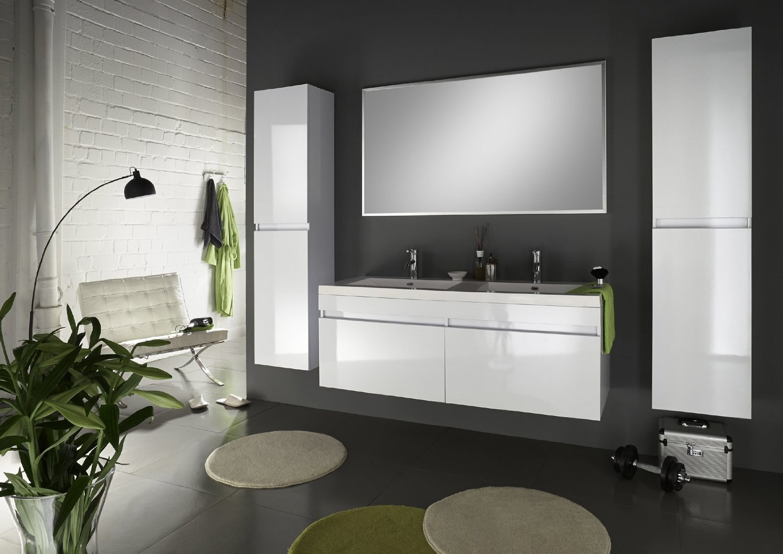 SAM® Badmöbel Set 4tlg Komplettset in Hochglanz weiß, 140 cm breiter ...