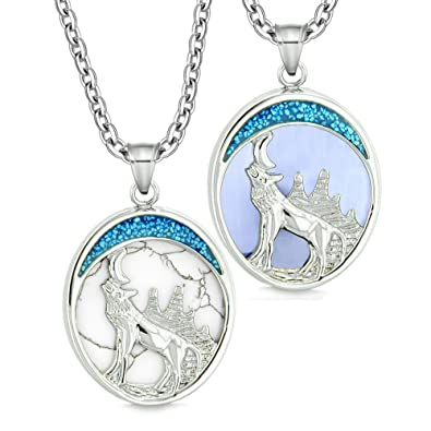922d3b6b3a Amazon.com: Howling Wolf Moon Love Couple or Best Friends Simulated ...