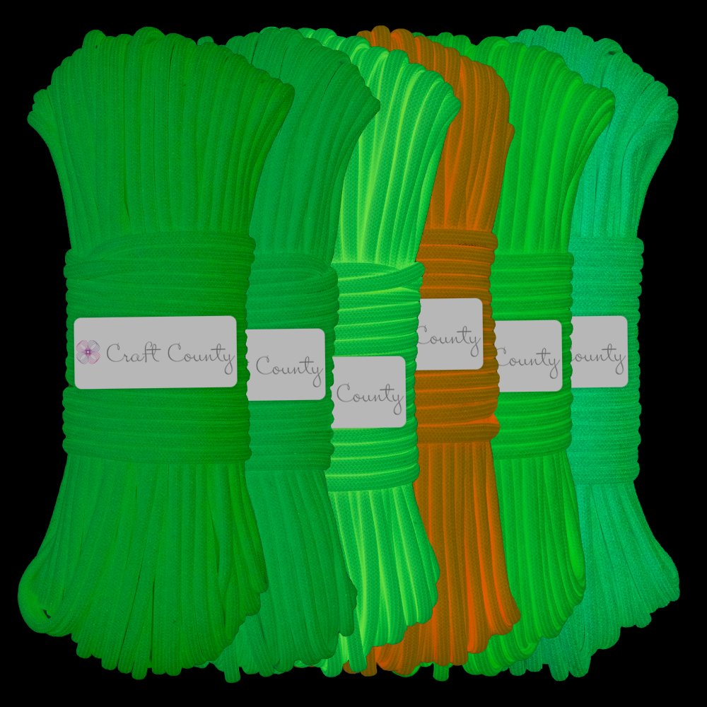and Jewelry Multiple Color Options 50 10 Craft County Glow in The Dark Zesty 21 Strand Luminous 550 Paracord for DIY Bracelets 25 and 100 Foot Lengths Lanyards