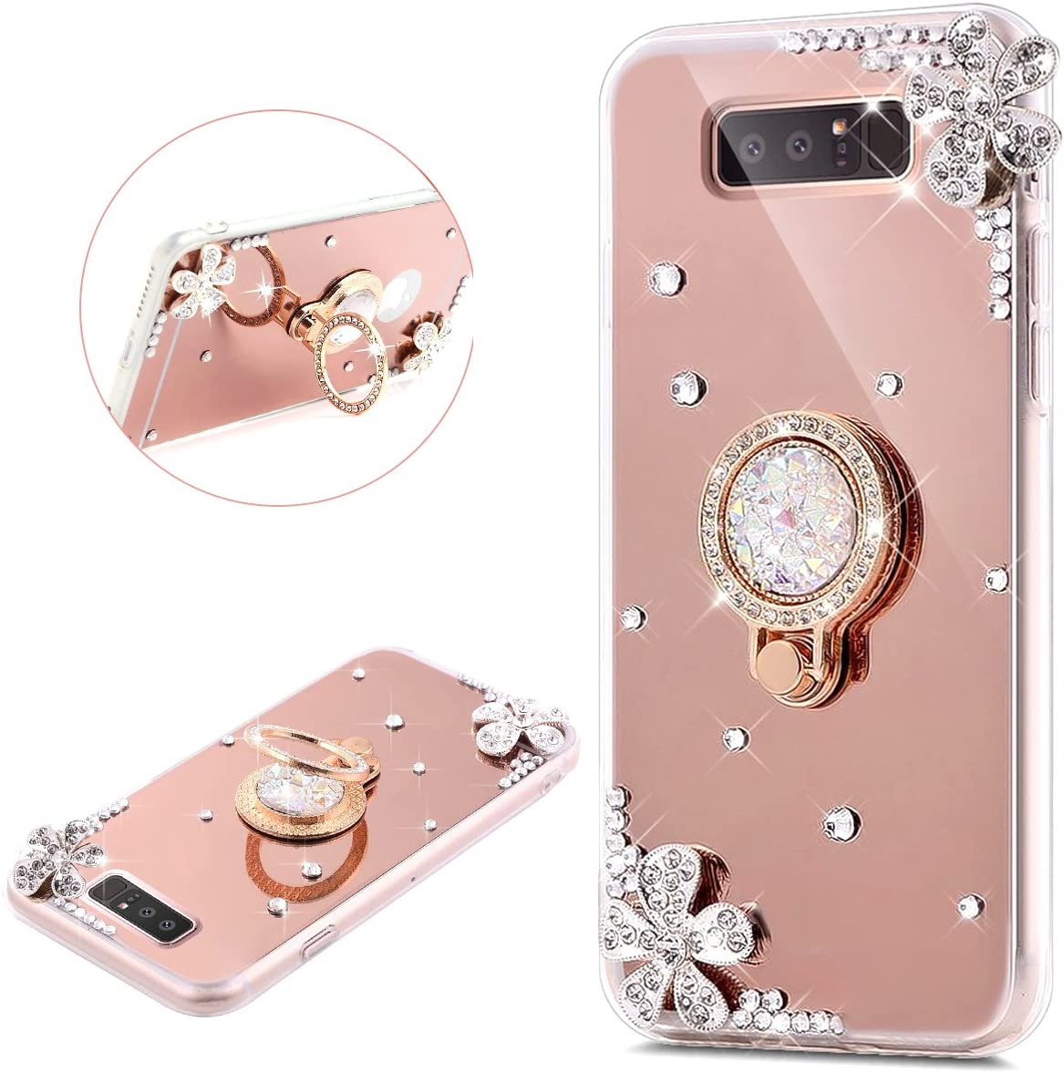 JAWSEU Case Compatible with Samsung Galaxy Note 8 Bling Glitter Silicone Soft TPU Gel Rubber Bumper Case with Ring Stand Holder Ultra Thin Slim Fit Flexible Anti-Scratch Shockproof Protective Case