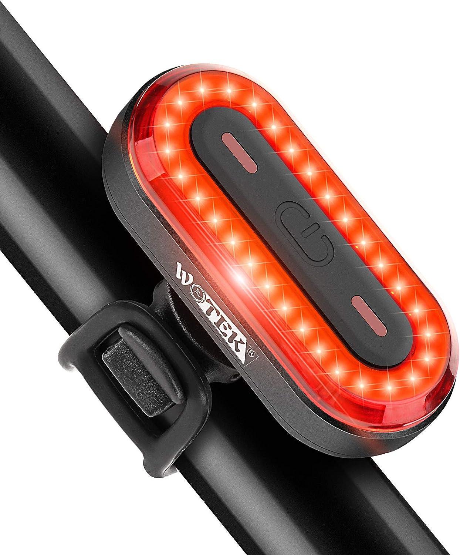WOTEK Luz Trasera Bicicleta USB, Luz Bicicleta Trasera con Recargable USB, 6 Modos de Iluminación, Luz Bici LED de 400mA, Accesorios Bicicleta para Ciclismo, Carretera y Montaña