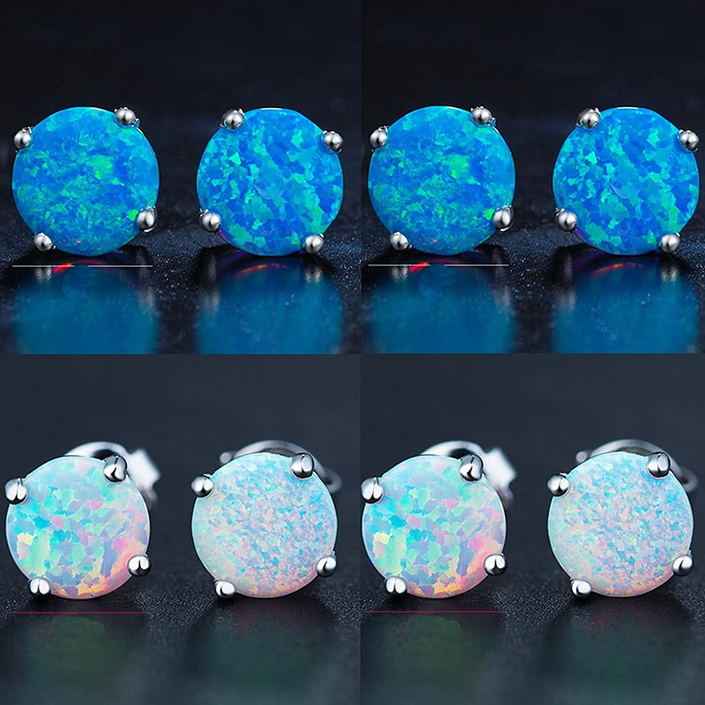 Mannli Sterling Silver Round Opal Birthstone Stud Earrings Jewelry for Women Girl White Blue Green Fire 8mm UN1hAo5L
