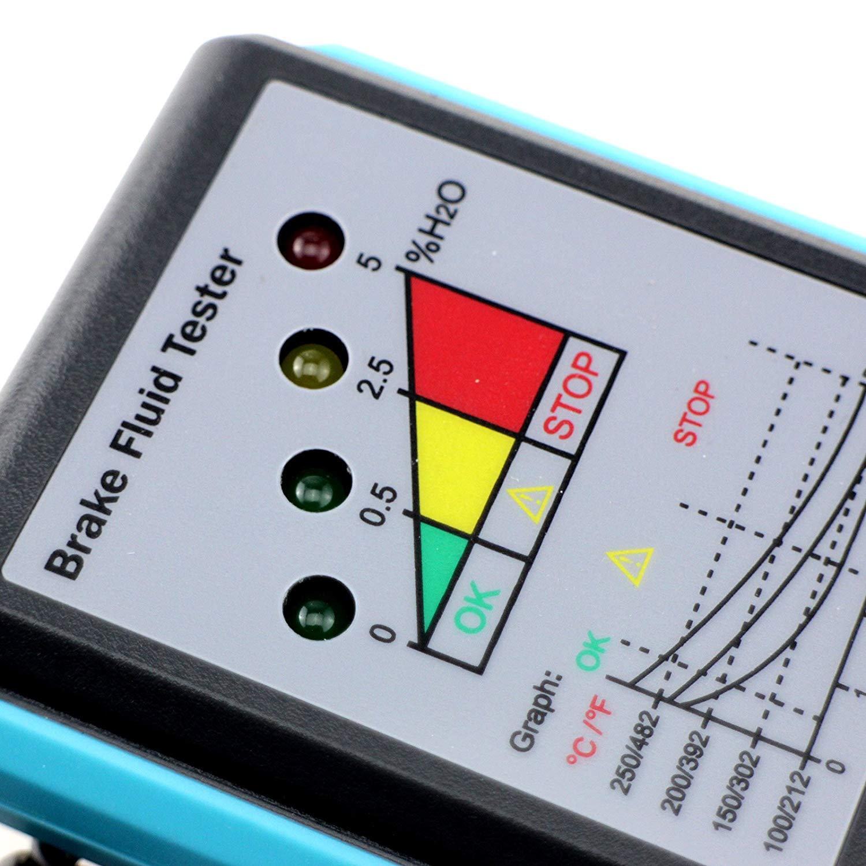 allsun Automotive Brake Fluid Tester Brake Fluid Detector LED Indicator 180/°Pucker with Buzzer Diagnostic Tool EM283A