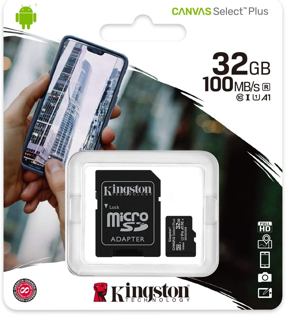 Kingston 32GB Alcatel OneTouch POP D3 MicroSDHC Canvas Select Plus Card Verified by SanFlash. 100MBs Works with Kingston