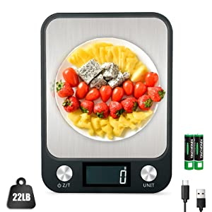 Digital Kitchen Scale, 22lb/10kg Food Scale with LCD Display, 7 Units with Tare Function, Weight Grams and Oz for Cooking, Baking, 1g/0.1oz Precise Graduation, USB Charging