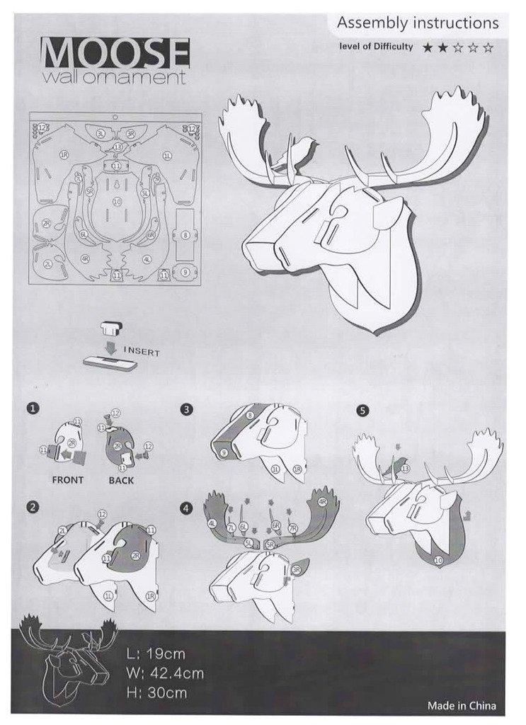 Amazon Rylai Print Wooden Diy 3d Puzzle Wildlife Animal Moose