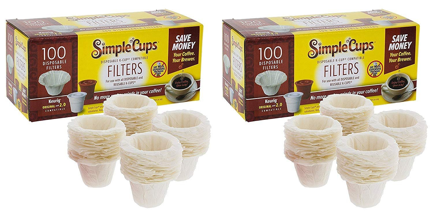 Disposable Filters for Use in Keurig Brewers - Simple Cups - 100 Replacement Filters - Use Your Own Coffee in K-cups (1, 2-Pack)