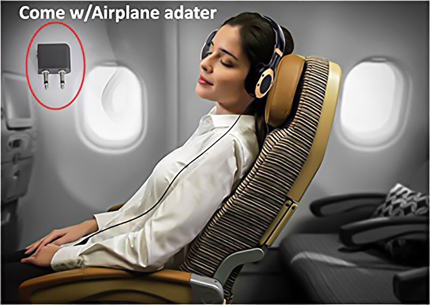 Active Noise Cancelling Headphones with Microphone and Airplane Adapter, Alteng J19 Folding and Lightweight Travel Headsets, Hi-Fi Deep Bass Wired Headphones with Carrying Case - Black by ALTENG (Image #4)