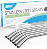 EHME Extra Long Stainless Steel Drinking Straws Set of 6, Straws for 20 oz & 30 oz Cold Beverage Tumblers, Fits Yeti, RTIC or Ozark Trail Tumblers Cups, 2 Free Cleaning Brushes Included