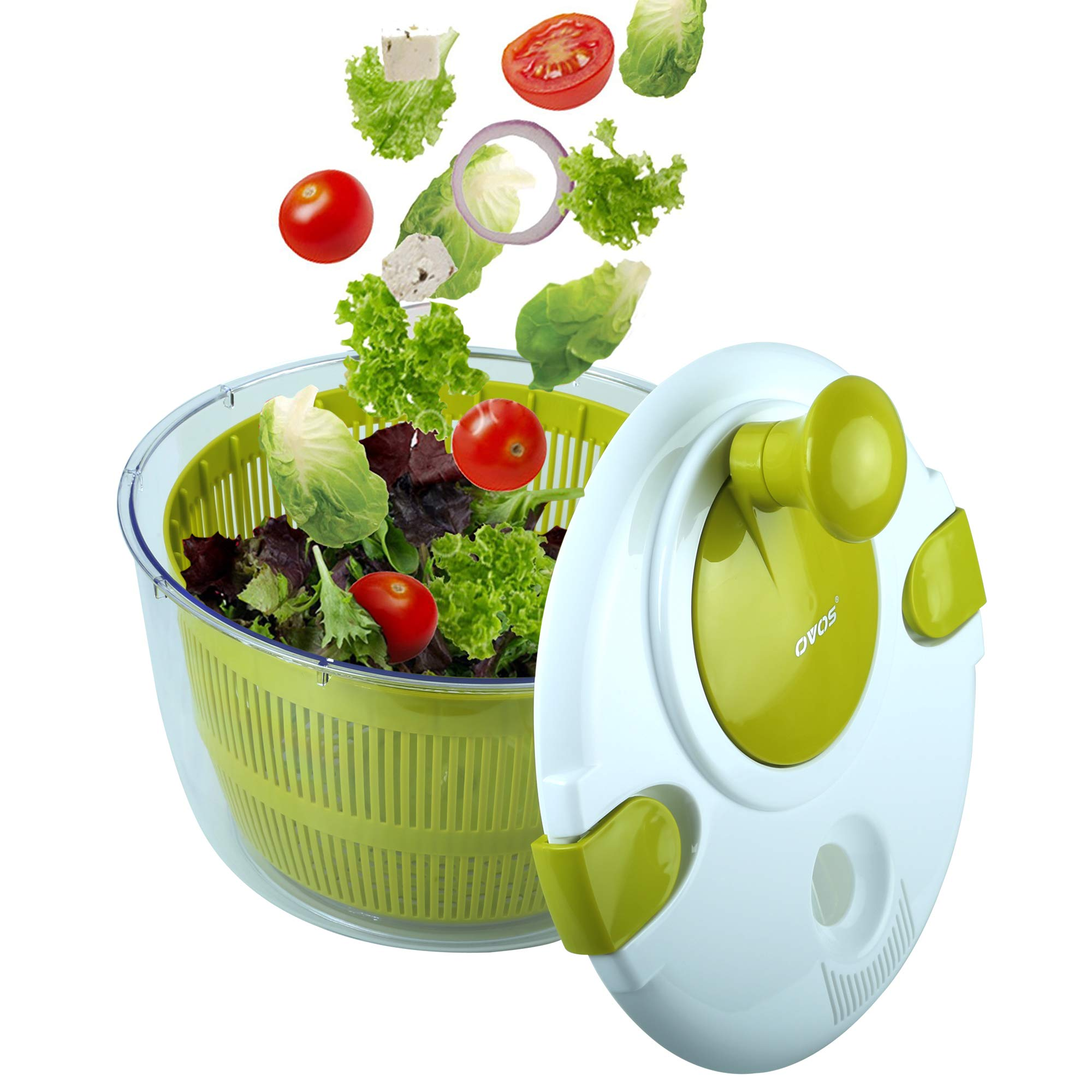 OVOS Salad Spinner Large 5 Quarts Fruits and Vegetables Dryer Quick Dry Design BPA Free Dry off and Drain Lettuce and Vegetable with Ease for Tastier Salads and Faster Food Prep by OVOS