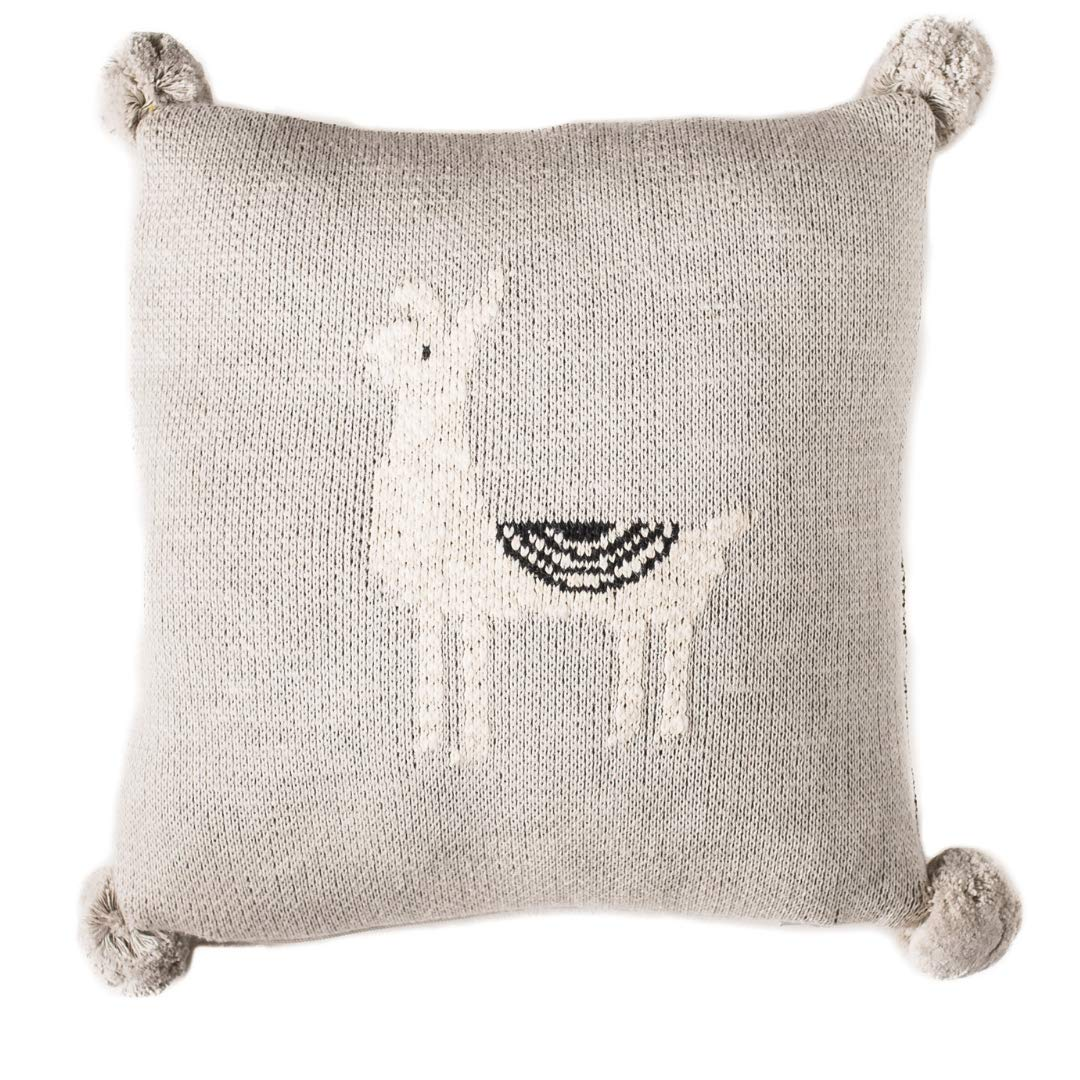 Linen Perch Baby Nursery Llama Throw Pillow - Baby Throw Cushion Cover and Insert for Nursery Decor - Decorative Toddler Accent Pillow for Crib or Chair - Unisex Baby Pillow 12 x 12 inches (Natural) by Linen Perch