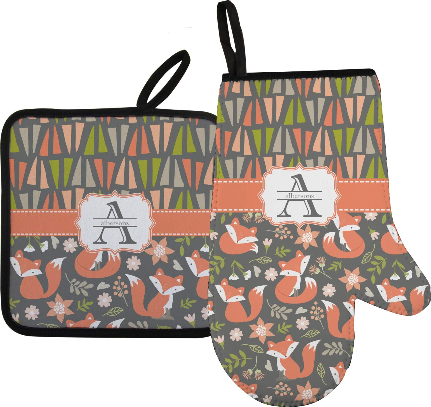 RNK Shops Fox Trail Floral Oven Mitt & Pot Holder (Personalized)