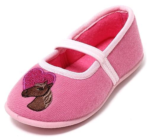 28f9e624b7be0 Zapato Mädchen Hausschuhe Ballerina Slipper Kinderschuhe Mädchenschuhe  Softschuhe Kinder Kleinkinder Schuhe Pferd rosa pink Glitzer mit Riemchen  ...