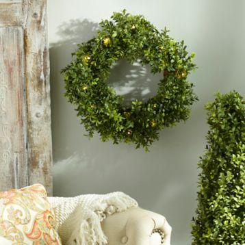 Pre-Lit Boxwood Wreath, 15 in. | Kirklands