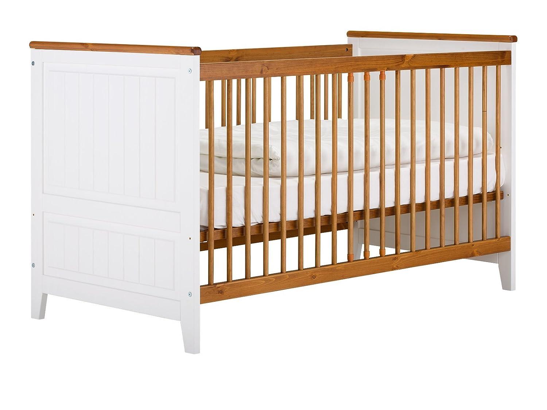 massivum Bett Julia 70x140cm Kiefer weiß lackiert