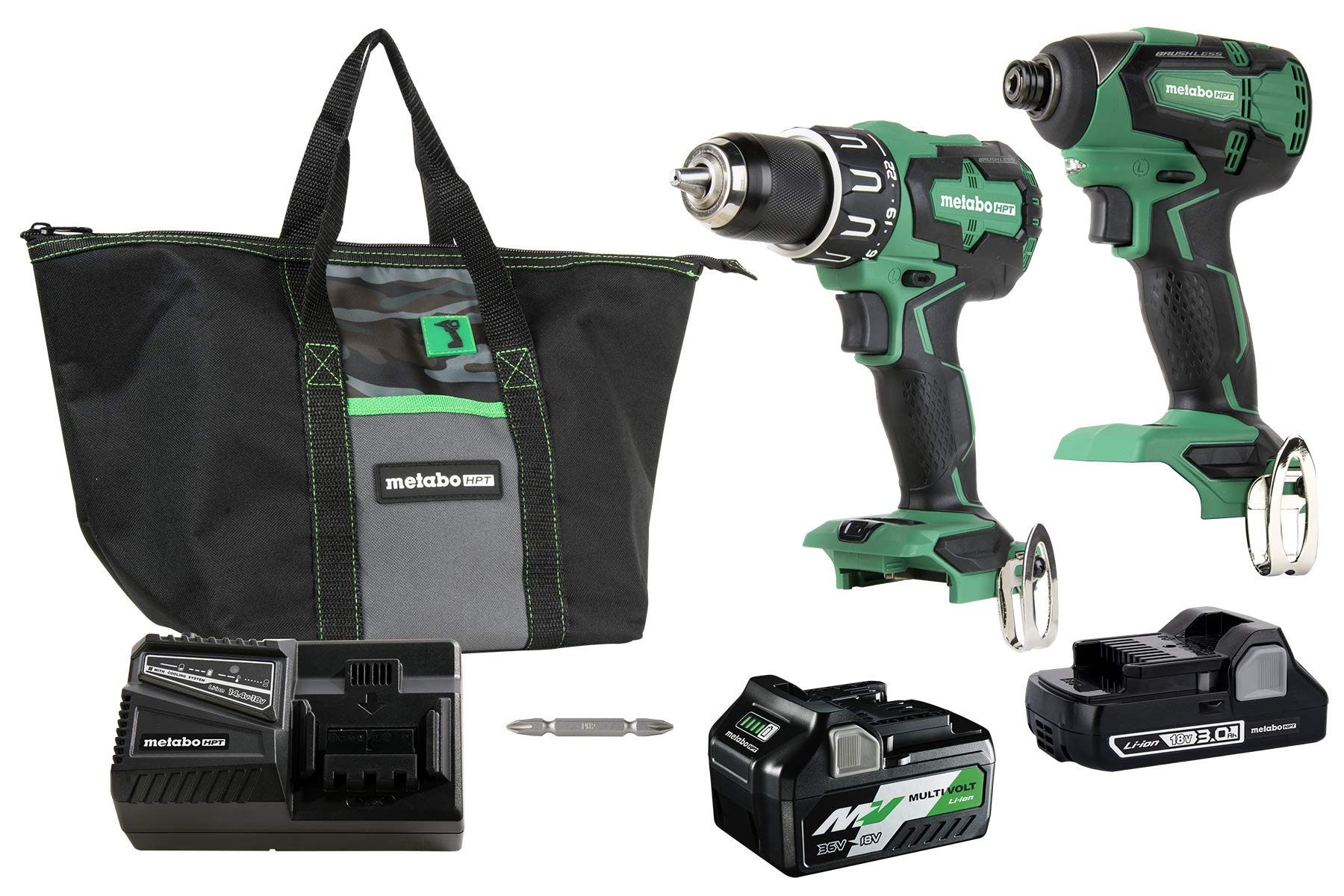 Metabo HPT KC18DBFL2T 18V Cordless Brushless Hammer Drill and Impact Driver Combo Kit, Includes Two Batteries, 1-36V/18V MultiVolt 5.0 Ah and 1-18V Compact 3.0 Ah Battery, Lifetime Tool Warranty