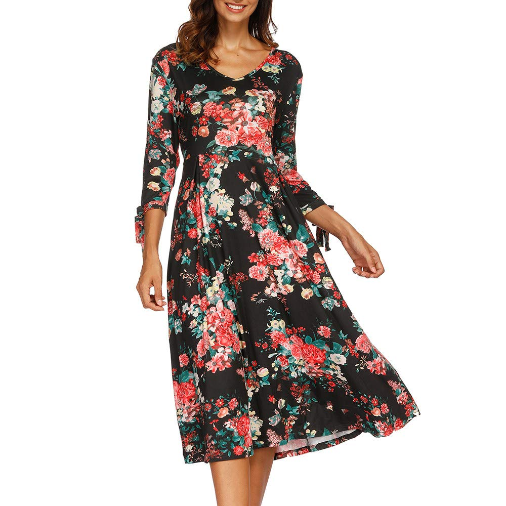 Womens Dresses Hot Sale,DEATU Ladies Autumn 3/4 Flare Sleeves Print Sexy Dress(Black,XL)