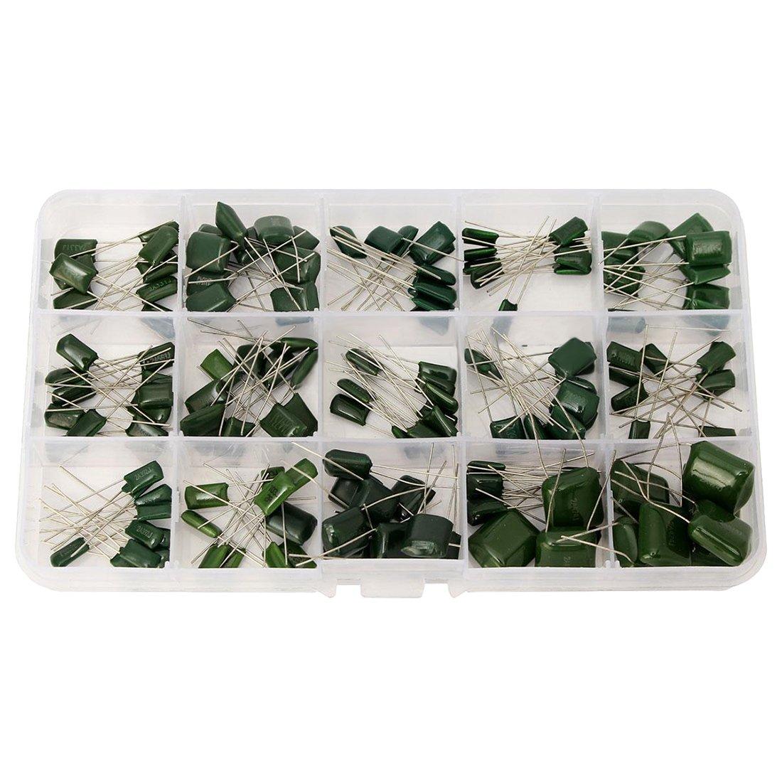 SODIAL(R) 150pcs 100V 15value Polyester Film Capacitor Assorted Kit Box Assorstment