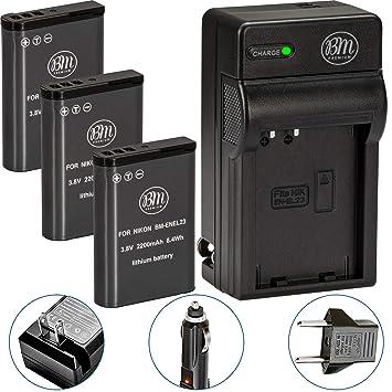Amazon.com: Pack de 3 BM Premium EN-EL23 Baterías y cargador ...