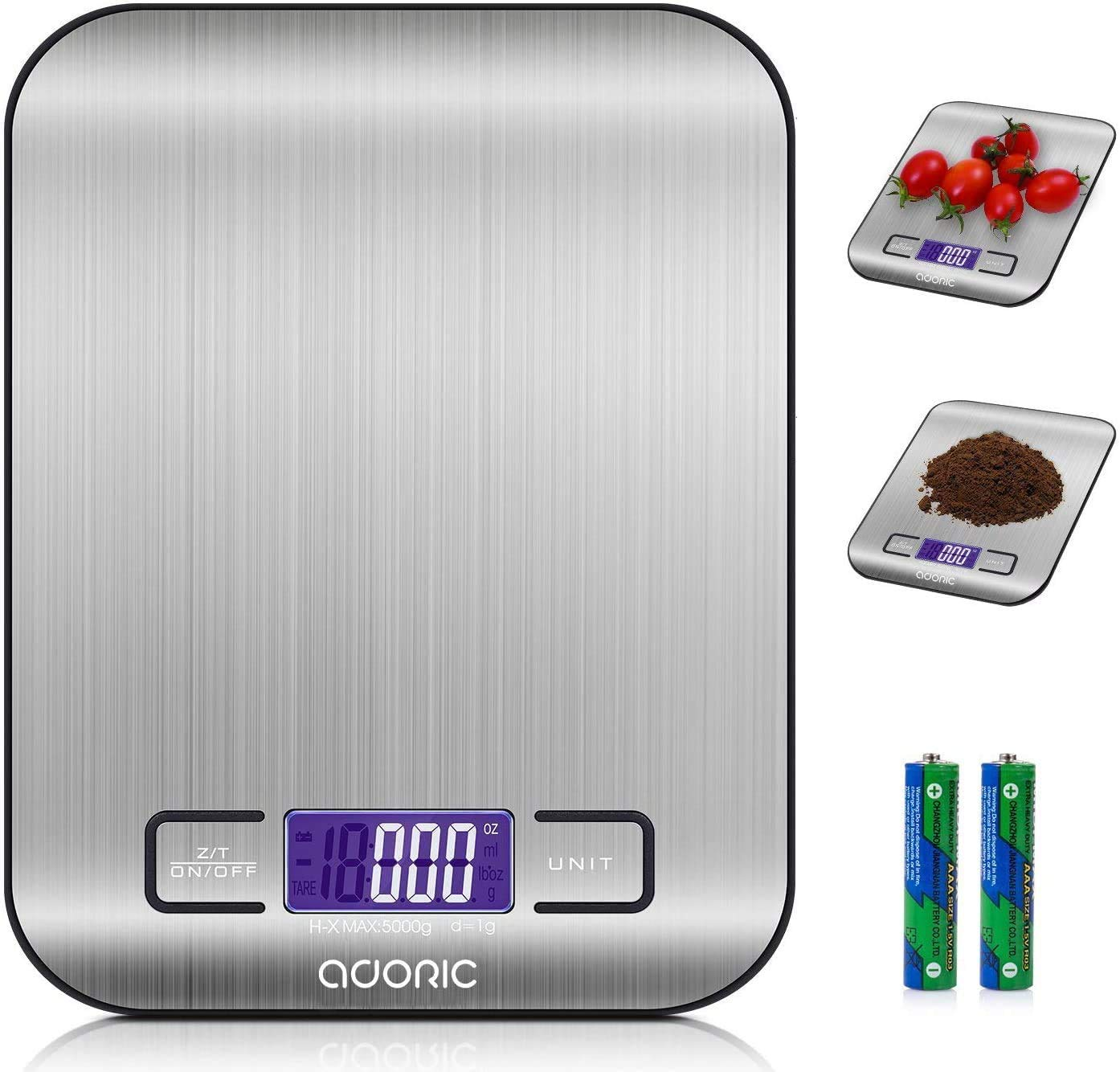 ADORIC Digital Scale Professional Electronic Scale, Kitchen Scale with LCD Display-Wonderful Precision up to 1g (5kg Maximum Weight) -Silvery