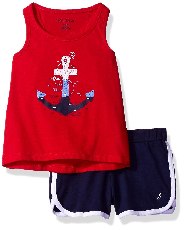Nautica Girls Racer Back Graphic Tee and Fashion Short Set