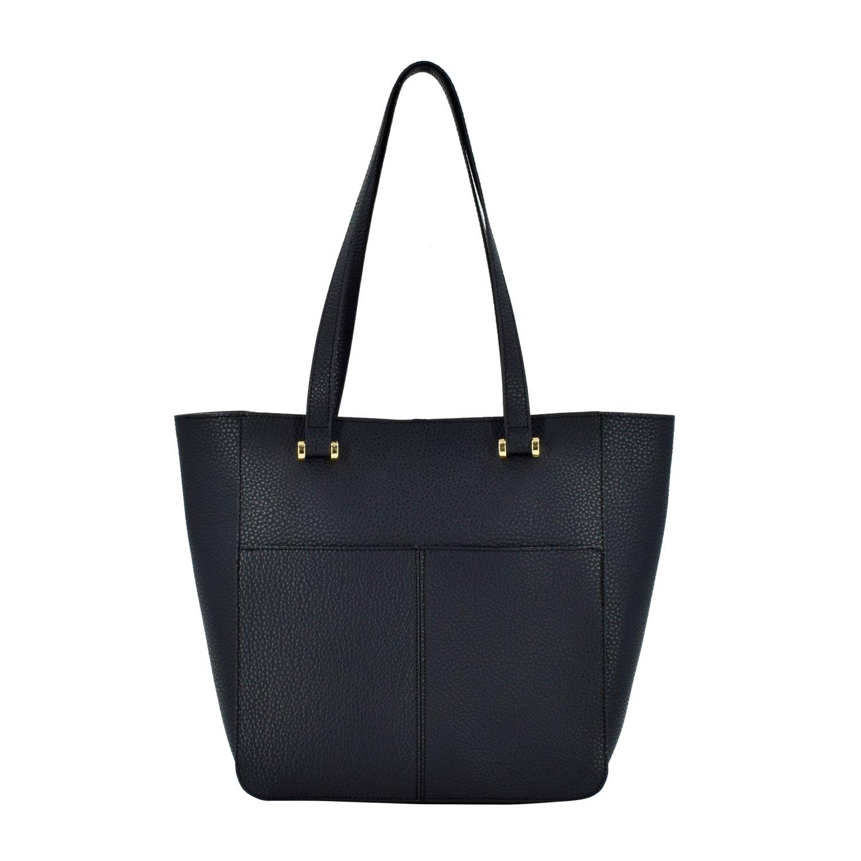 ESA Women's Fashion Shopper Shoulder Bag Vegan Leather Top-handle Handbag Tote Style Purse (Black)