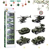 CAVEEN Car Army Toys 6 Cars 1 Set Die-cast Metal Playset Toy Vehicle Alloy Car Models Toy Military Helicopter Tank Jeep Truck Armored Car for Kids 6PCS Fire Fighting (6PCS Army)