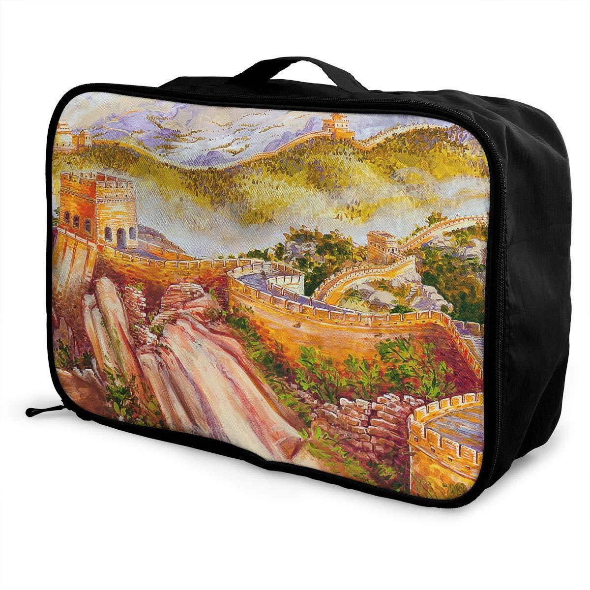 Travel Luggage Duffle Bag Lightweight Portable Handbag Fantasy Great Wall Large Capacity Waterproof Foldable Storage Tote