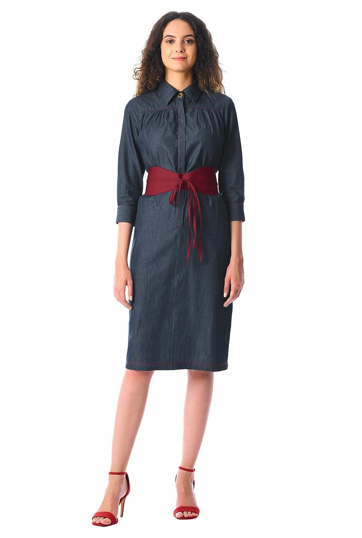 143b3cd1ff6 eShakti Women s Cotton chambray obi-belt shirtdress UK Size 04   Tall  height Deep indigo vibrant garnet  Amazon.co.uk  Clothing