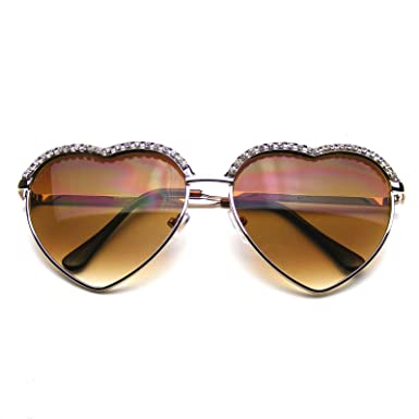 e3d0d6c8b38 Cute Chic Heart Shape Glam Rhinestone Sunglasses (Gold)  Amazon.co ...