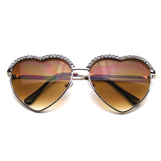 3413783c8af Amazon.com  Cute Chic Heart Shape Glam Rhinestone Aviator Sunglasses ...