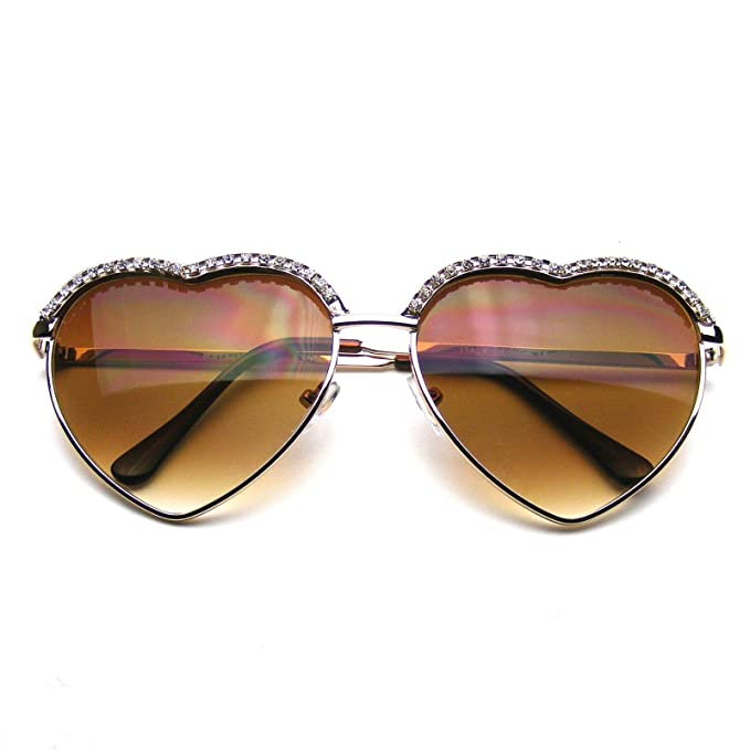 2db8d5b67e8 Cute Chic Heart Shape Glam Rhinestone Sunglasses (Gold)  Amazon.co ...