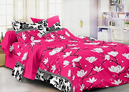Exceptional Homefab India 3D 140 TC Polycotton Double Bedsheet With 2 Pillow Covers    Floral, Pink