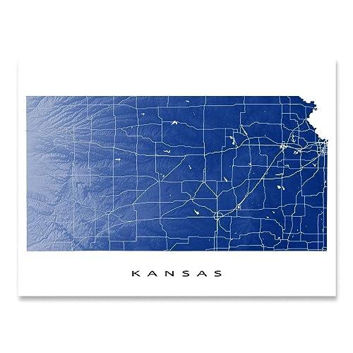 Amazon Com Kansas Map Print Ks State Outline Usa Wall Art Poster