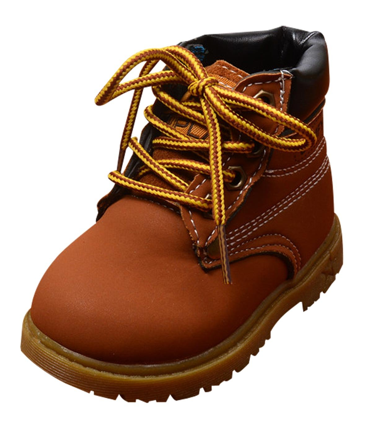 Autumn Combat Boots Children's Casual Boots Kids Keep Warm Martin Snow Boots for Boys Girls Brown 7 M