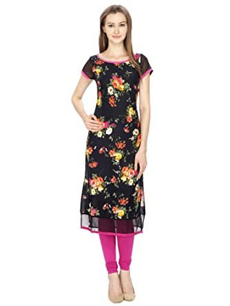 02edaba7d8f AgrohA Women s Rayon Georgette Desginer Cap Sleeves Pink Floral Print Long  Kurti (Kurti