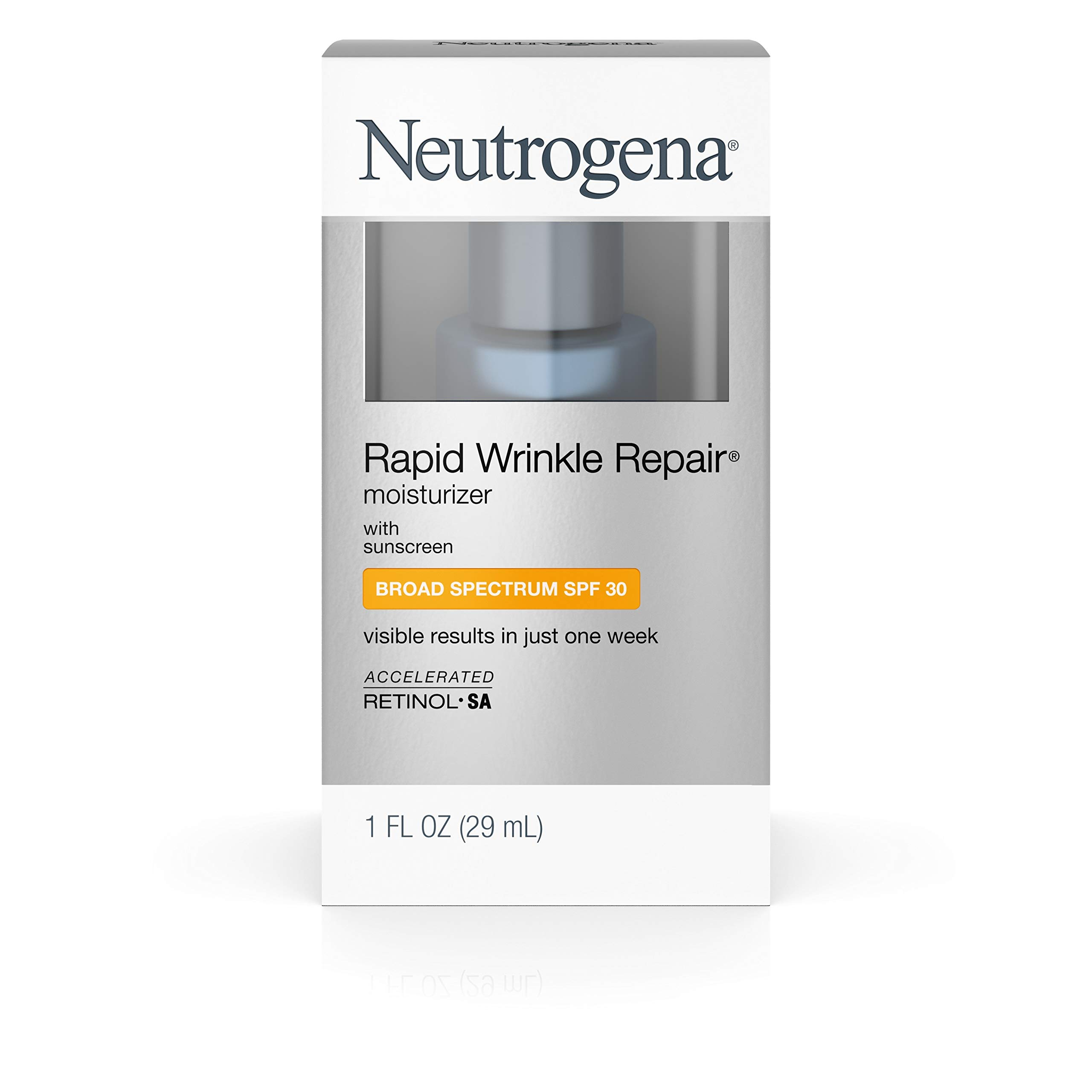 Neutrogena Rapid Wrinkle Repair Daily Hyaluronic Acid Retinol Face Moisturizer, Anti Wrinkle Face Cream & Neck Cream with SPF 30 Sunscreen - Hyaluronic Acid, Retinol & Glycerin with SPF 30, 1 fl. oz by Neutrogena