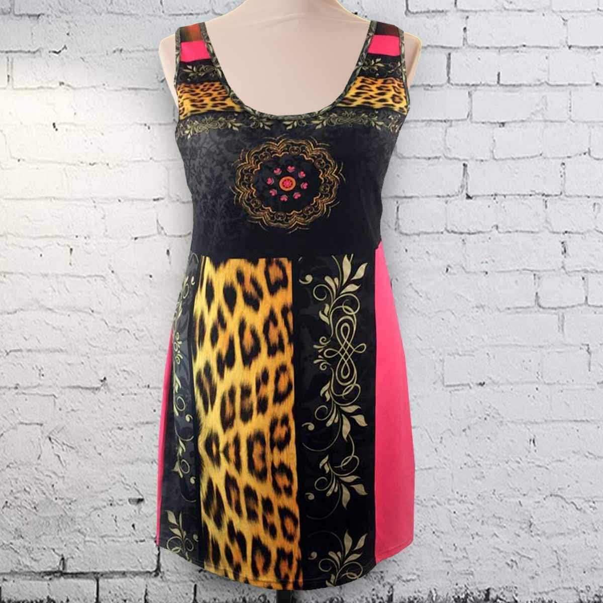Striped Leopard & Tapestry Sleeveless Spandex Pencil Dress Plus Size 2X