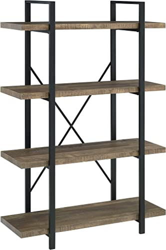 Coaster Home Furnishings Tolar 4-Tier Bookcase Rustic Oak and Black Open Shelves - the best modern bookcase for the money