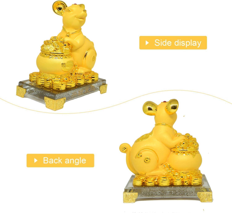 YeBon Feng Shui Rat//Souris Ann/ée 2020 Statue du Zodiaque Chinois Dor/é D/écoration pour la Maison ou Le Bureau RA-DDFC dor/é