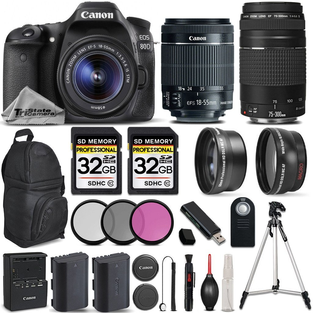 Canon EOS 80D Wi-Fi Full HD 1080P Digital SLR Camera + Canon 18-55mm IS STM + Canon 75-300mm III + 0.43Wide Angle Lens + 2.2x Telephoto Lens. All Original Accessories Included - International Version