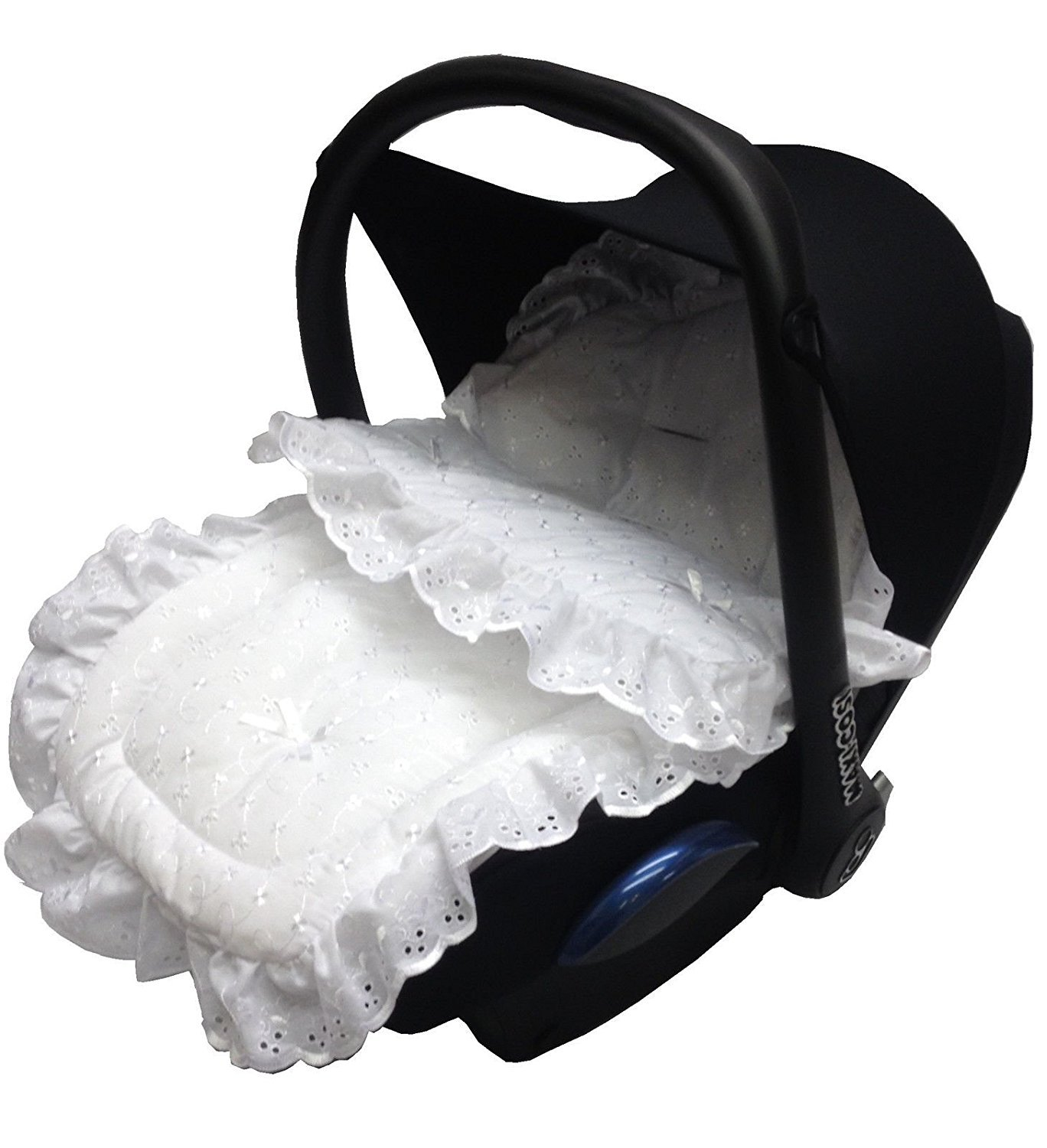 Broderie Anglaise Car Seat Footmuff/Cosy Toes Compatible with Maxi Cosi Cabrio/Pebble White For-Your-Little-One